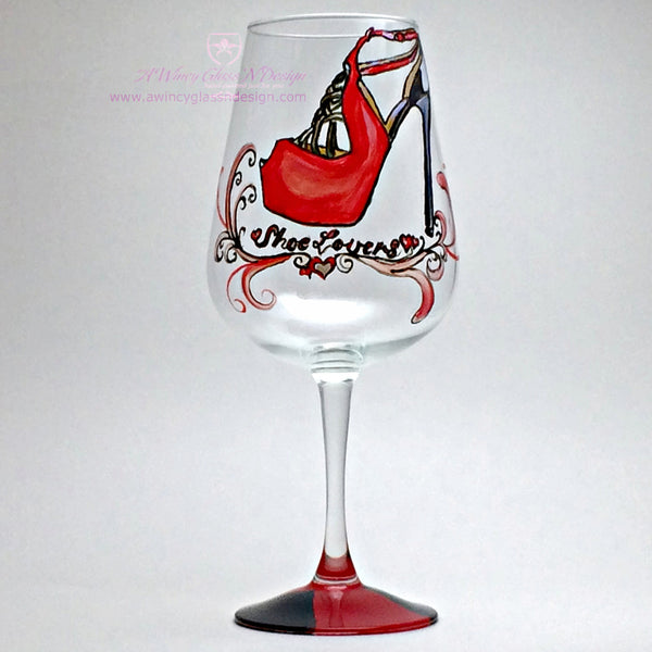 Shoe Lover Hand Painted Wine Glass - 1 Wine Glass - A Wincy Glass N Design