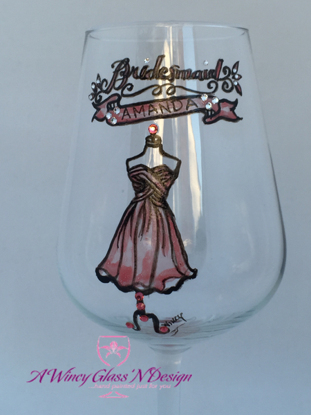 Swarovski Crystal Hand Painted Bridesmaids Wedding Glasses - A Wincy Glass N Design
