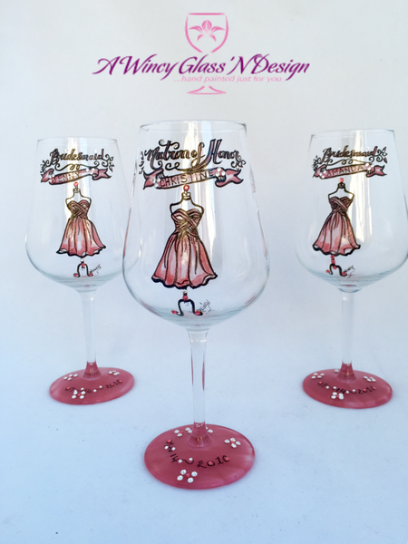 Swarovski Crystal Hand Painted Bridesmaids Wedding Glasses (Set of 3) - A Wincy Glass N Design
