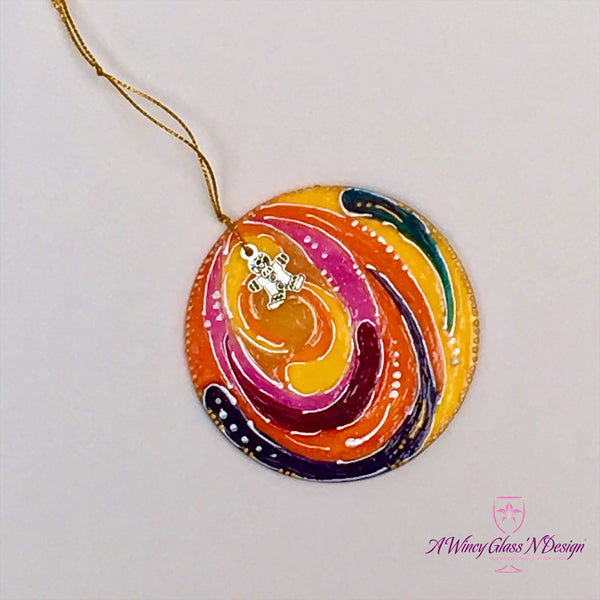 Single Circle Hand Painted Glass Ornament - Assorted Colors
