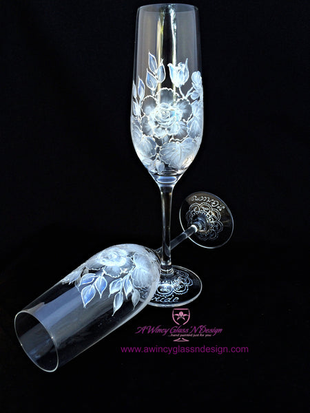 White Vintage Rose Crystal Hand Painted Champagne Flutes