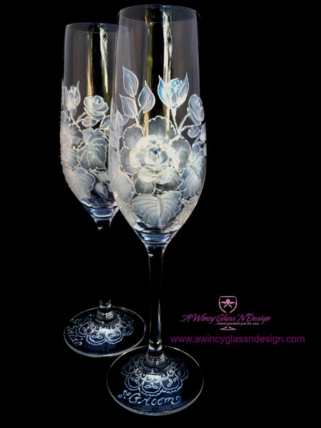 White Vintage Rose Hand Painted Champagne Flutes - 2 Flutes - A Wincy Glass N Design