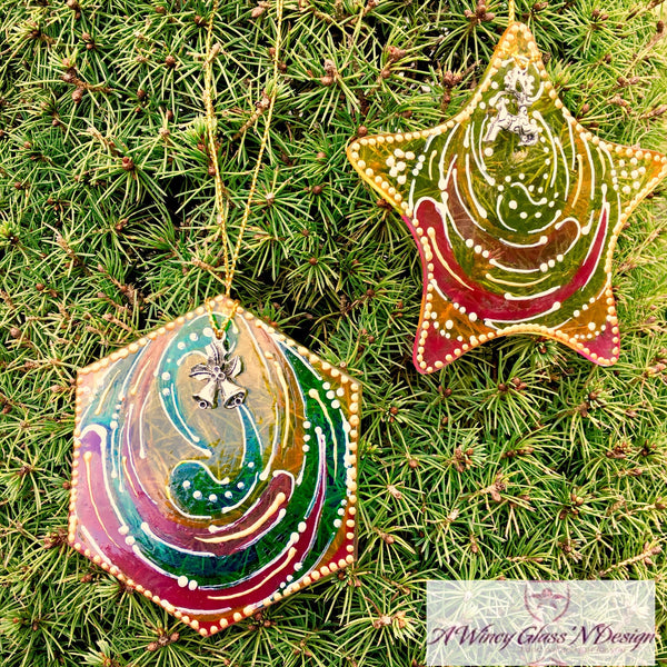 Set of 2 Geometric Hand Painted Glass Ornaments - Assorted Colors