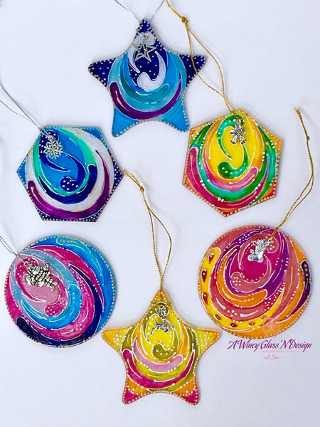 PRE-ORDER: Assorted Color Geometric Hand Painted Glass Ornament Sets - A Wincy Glass N Design