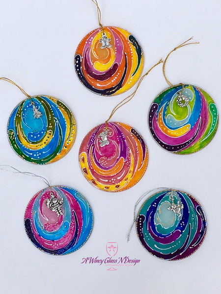 PRE-ORDER: Assorted Color Circles Hand Painted Glass Ornament Set - A Wincy Glass N Design