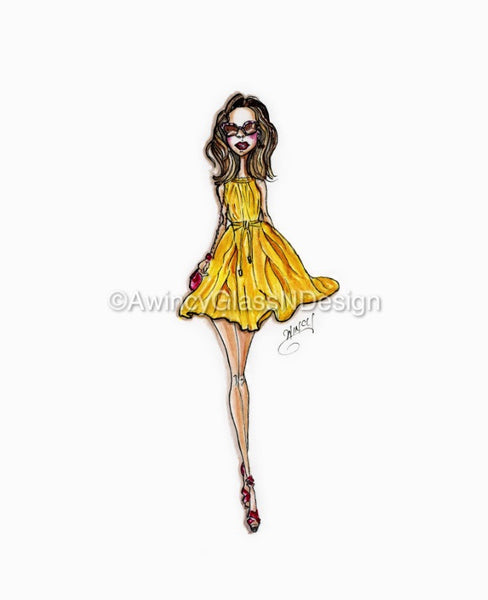 Miss Sunshine Fashion Illustration Art Print - A Wincy Glass N Design