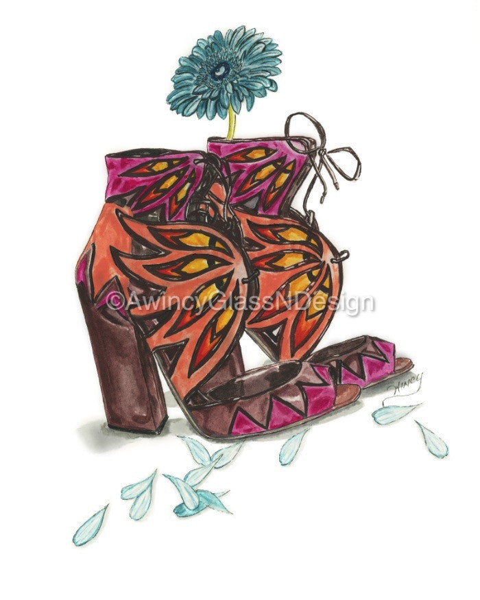 Sandals N Daisy Petals Fashion Illustration Art Print - A Wincy Glass N Design