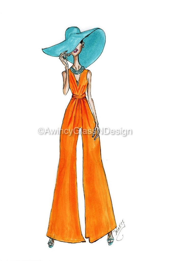 Summer Vibes Fashion Illustration Art Print - A Wincy Glass N Design