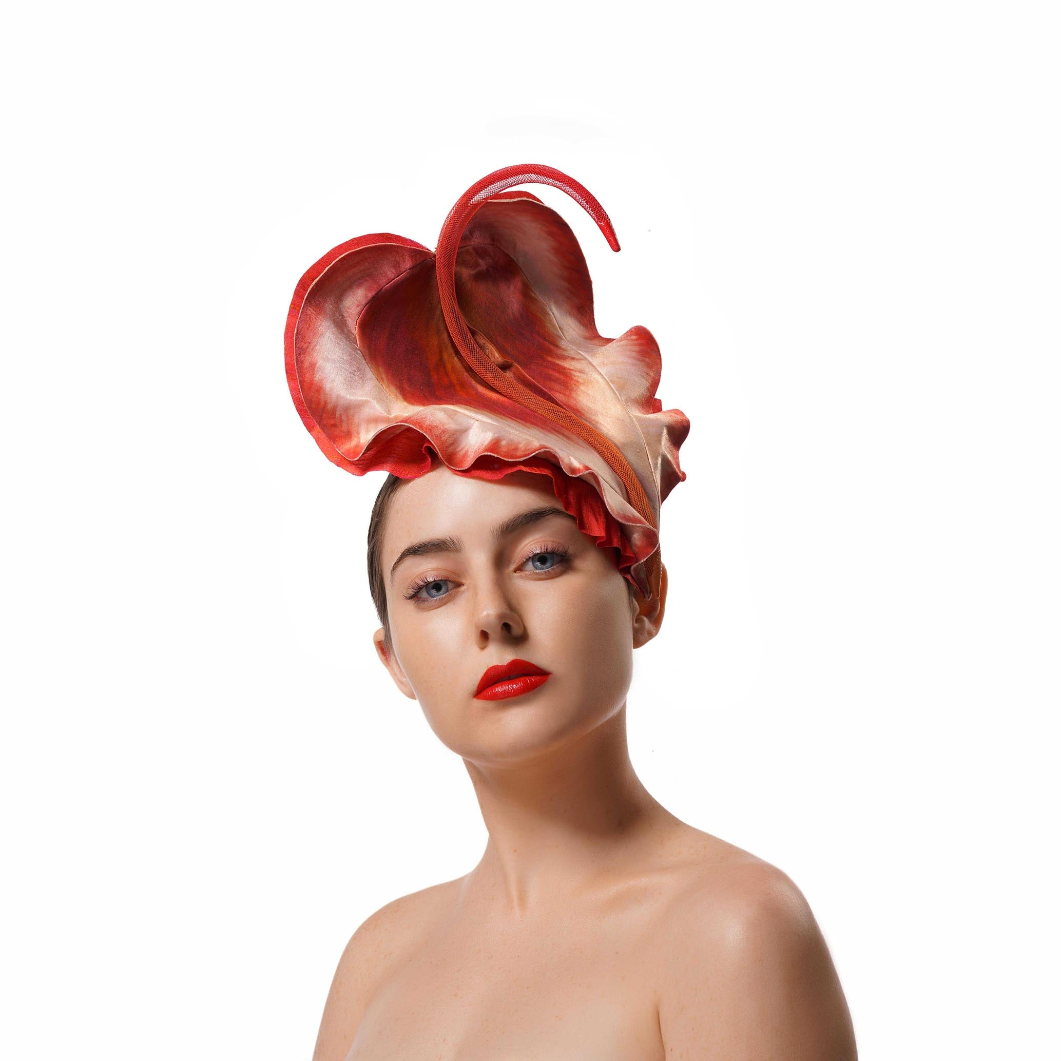 Red Cala flower fascinator