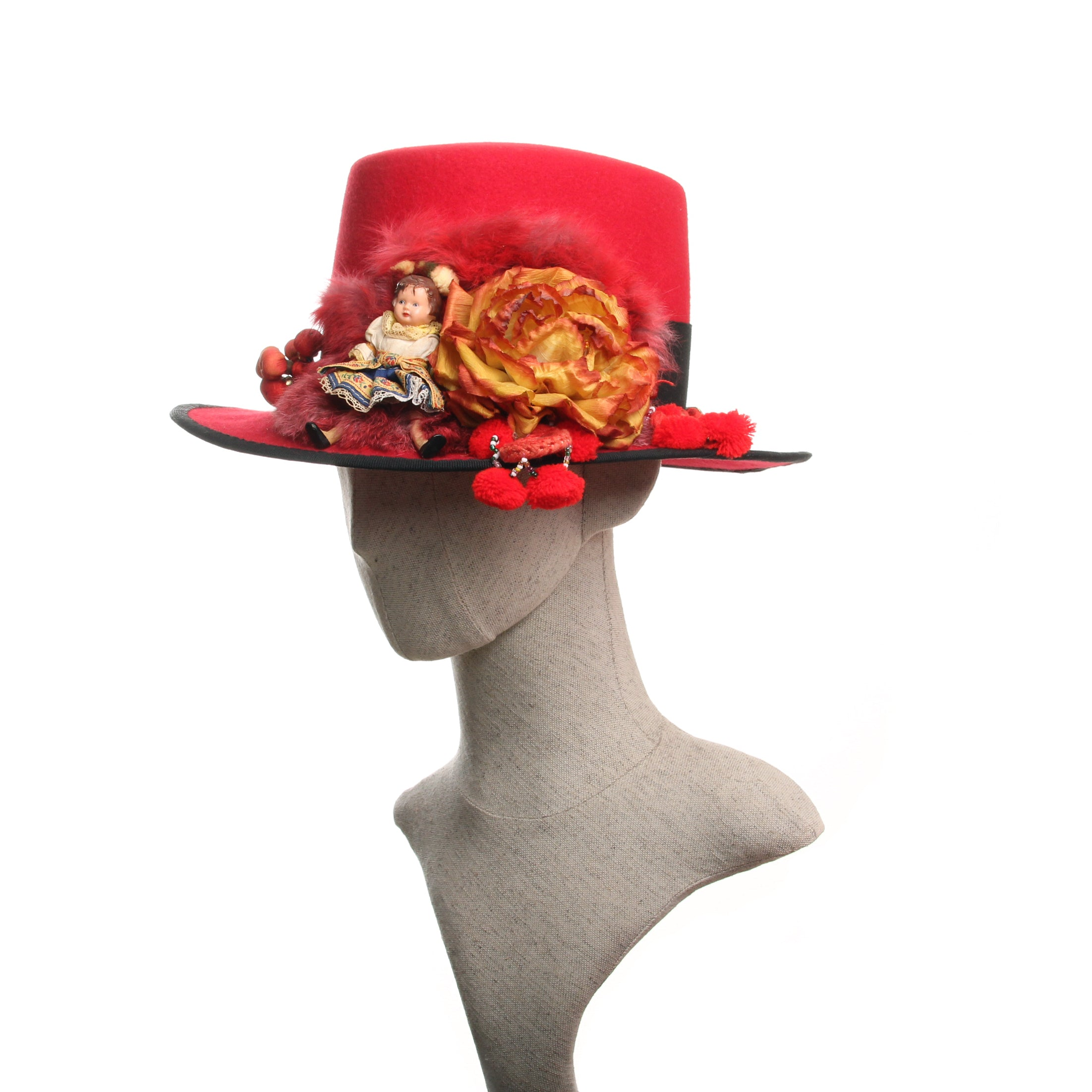 Red wide brimmed folk Hat