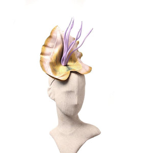 Yellow orchid fascinator
