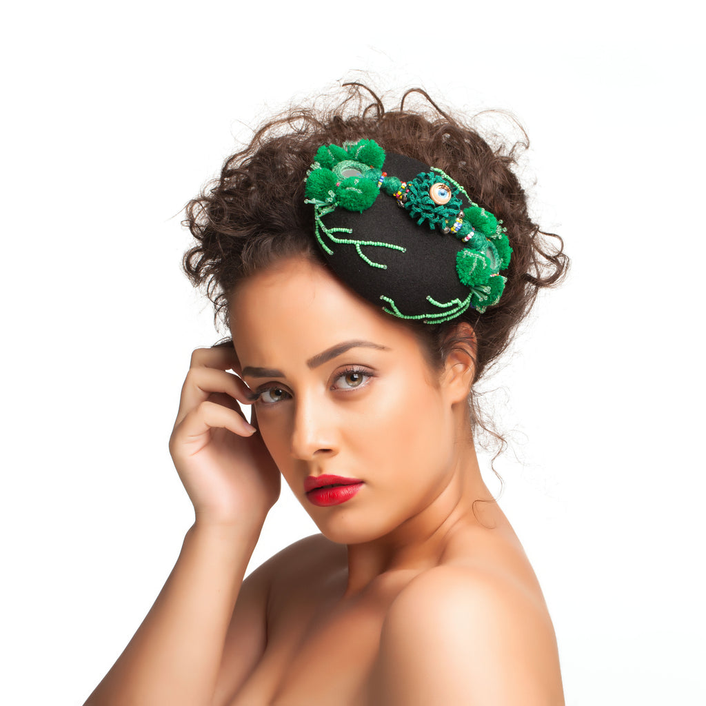 Folk Black and Green Fascinator