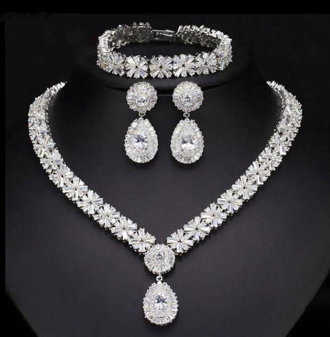 Silver Cubic Zirconia Women Wedding Bridal Jewelry Set