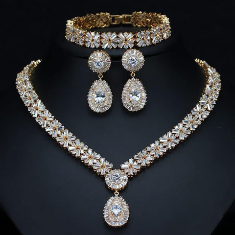 gold Cubic Zirconia Women Wedding Bridal Jewelry Set