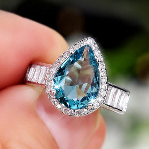 Big Pear Shape Cubic Zirconia Rings Vintage Party Accessories Luxury Jewelry for Women Lover's Birthday Gift