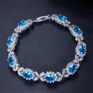 Luxury Emerald Green Crystal Chain & Link Bracelets Women Flower Charm Bracelet Bangle Jewelry Gift - www.eufashionbags.com