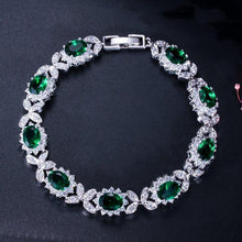 Load image into Gallery viewer, Luxury Emerald Green Crystal Chain & Link Bracelets Women Flower Charm Bracelet Bangle Jewelry Gift - www.eufashionbags.com