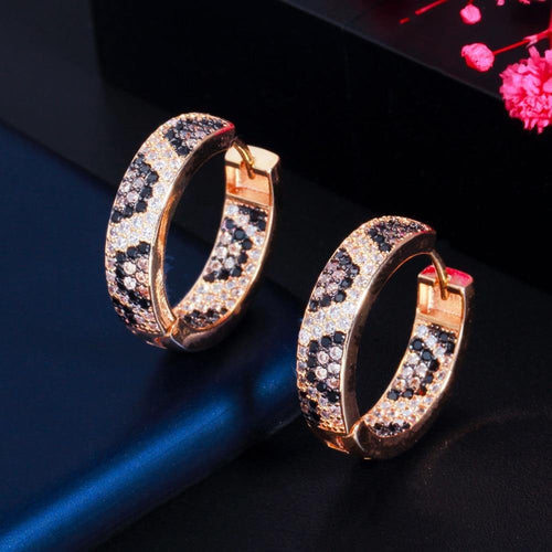 Shiny Micro Pave Cubic Zirconia Gold Color Round Leopard Hoop Earrings for Women Unique Jewelry Gift - www.eufashionbags.com