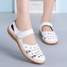 Load image into Gallery viewer, Women's Genuine Leather Sandals Women Hook Loop Summer Shoes Beach sandalias Hollow sandales - www.eufashionbags.com