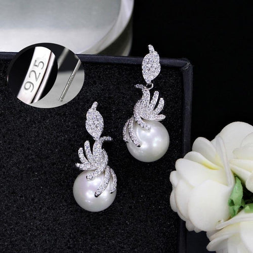 Gorgeous Micro Pave Cubic Zirconia Stones Silver Color Women Dangling Drop Pearl Earrings Fashion Jewelry CZ061 - www.eufashionbags.com