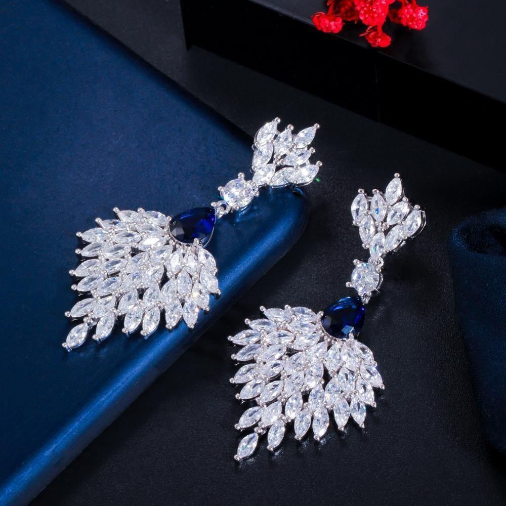 Cubic Zirconia Long Feather Dangle Drop Earrings for Women Wedding Banquet Jewelry Accessories - www.eufashionbags.com