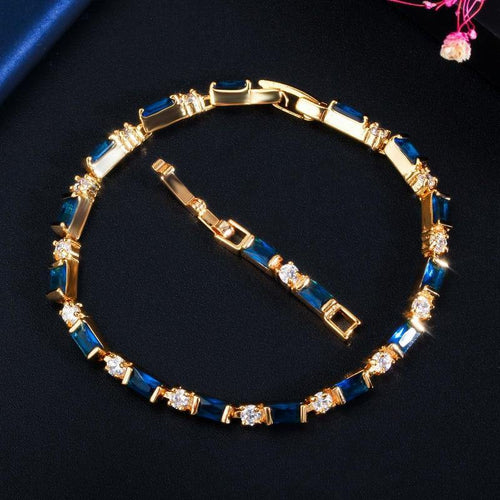 New Fashion 585 Gold Jewelry Black CZ Tennis Chain Link Bracelets for Women Accessories - www.eufashionbags.com