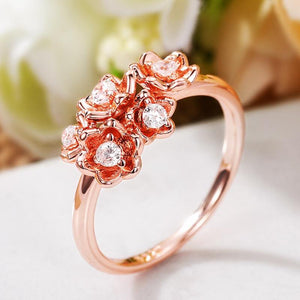 Delicate Flower Ring Women Rose Gold Color Shiny Cubic Zirconia Party Finger-ring Daily Wearable Girl Stylish Jewelry - www.eufashionbags.com