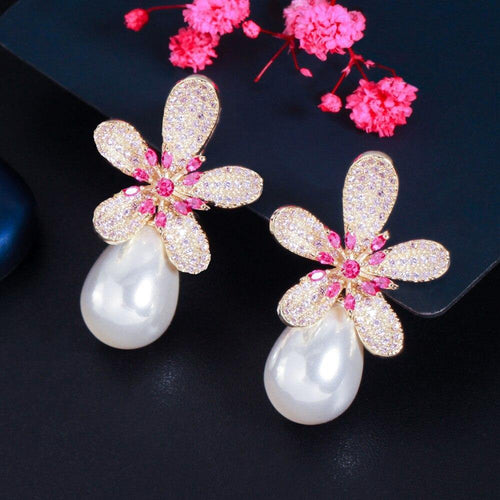 Women Luxury Cubic Zirconia Flower Dangle Drop Pearl Earrings Engagement Wedding Jewelry e11