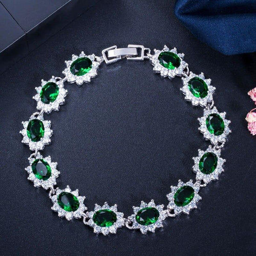 White Gold Color CZ Crystal Rhinestone Flower Charm Bracelets Link Chain Bangle for Women - www.eufashionbags.com