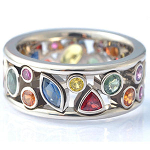 Colorful Women Hollow Out Geometric Stone Rings Cocktail Party Female Finger Ring Fancy Stylish Rings Jewelry