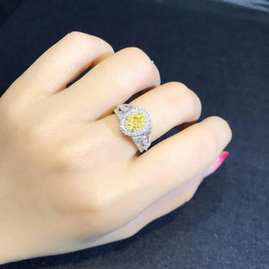 Oval Yellow CZ Women Finger Ring Bright Vintage Party Female Elegant Accessories High Quality Jewelry - www.eufashionbags.com