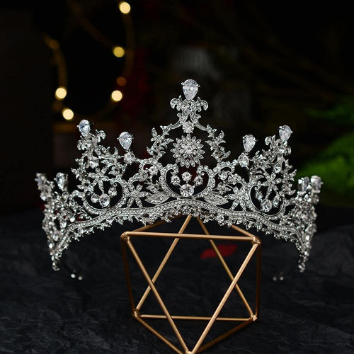 Baroque Luxury Crystal Flowers Bridal Tiaras CZ Crowns Rhinestone Pageant Diadem Veil Tiara Headband Wedding Hair Accessories - www.eufashionbags.com