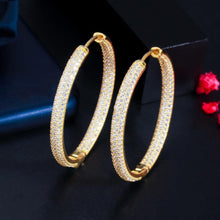 Load image into Gallery viewer, Stunning Double Sided Cubic Zirconia Big Circle Round Hoop Earrings for Women 2021 Trendy Gold Color Jewelery - www.eufashionbags.com