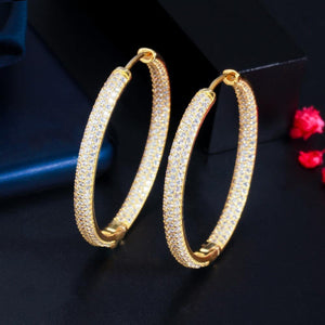 Stunning Double Sided Cubic Zirconia Big Circle Round Hoop Earrings for Women 2021 Trendy Gold Color Jewelery - www.eufashionbags.com