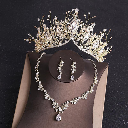 Baroque Retro Costume Bridal Jewelry Sets Rhinestone Crystal Gold Tiara Crown Earrings Necklace Wedding Bride Gift - www.eufashionbags.com