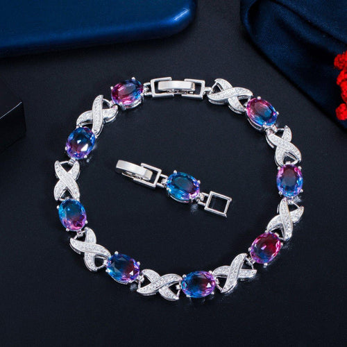 Fashion Rainbow CZ Crystal Charm Bracelets Bangle Women Link Chain Jewelry Gift - www.eufashionbags.com