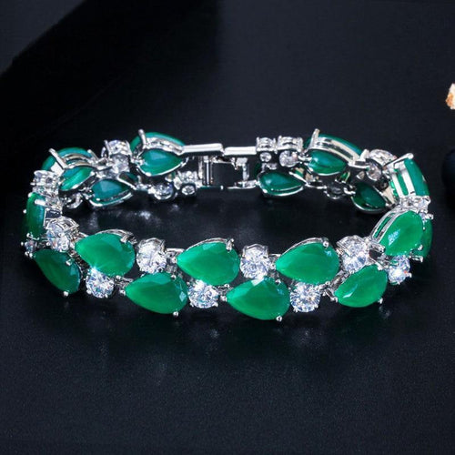 Luxury Emerald Green Cubic Zircon Wide Bracelet Bangle Women Charm Bracelets Jewelry Party Gift - www.eufashionbags.com