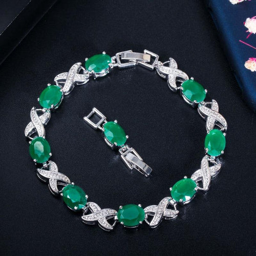 New Trendy Jewelry Cross Oval Green CZ Crystal Chain & Link Bracelets Party Tennis Women Bracelet with Extender - www.eufashionbags.com