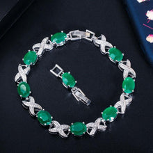 Load image into Gallery viewer, New Trendy Jewelry Cross Oval Green CZ Crystal Chain & Link Bracelets Party Tennis Women Bracelet with Extender - www.eufashionbags.com