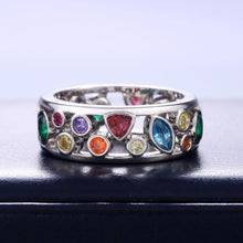 Load image into Gallery viewer, Colorful Women Hollow Out Geometric Stone Rings Cocktail Party Female Finger Ring Fancy Stylish Rings Jewelry