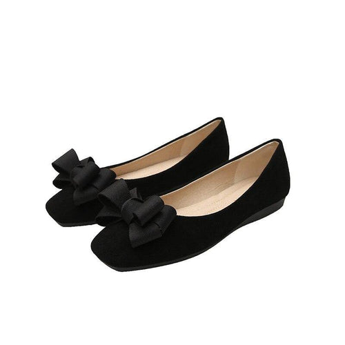 fashion Women Flat shoes butterfly-knot square Toe leather ballet flats Plus size 33 - 43 s10 - www.eufashionbags.com