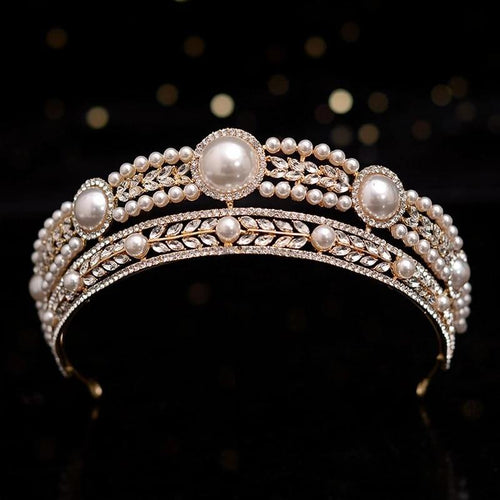Women Wedding Hair Accessories Retro Crystal Pearls Round Bridal Tiaras Crown Noble Rhinestone Pageant Diadem Bride Headbands - www.eufashionbags.com