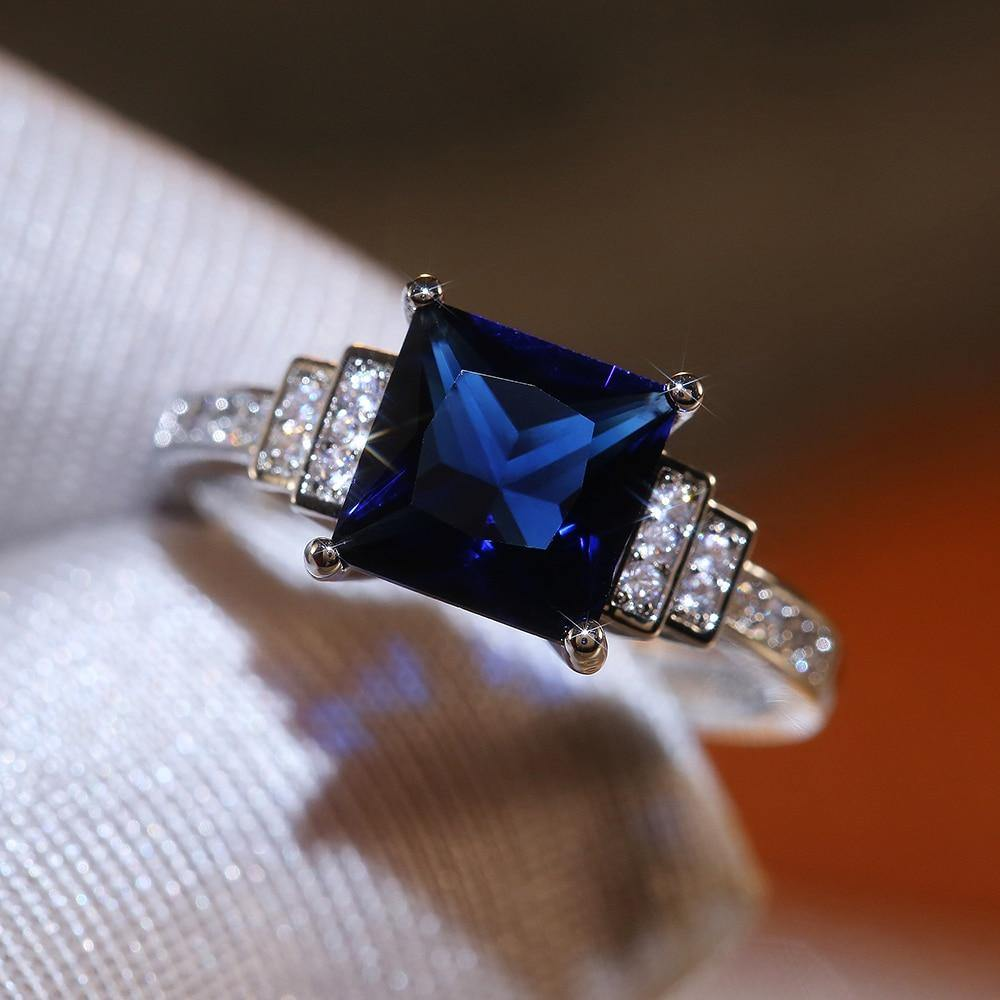 Blue Square Cut Four Claws Women Ring Vintage Lady Luxury Inlaid Zircon Female Jewelry Wedding Rings - www.eufashionbags.com