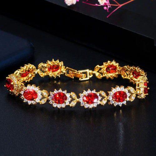 Red Cubic Zirconia Crystal Flower Link Chain Bracelet Bridal Women Wedding Party Bracelet - www.eufashionbags.com