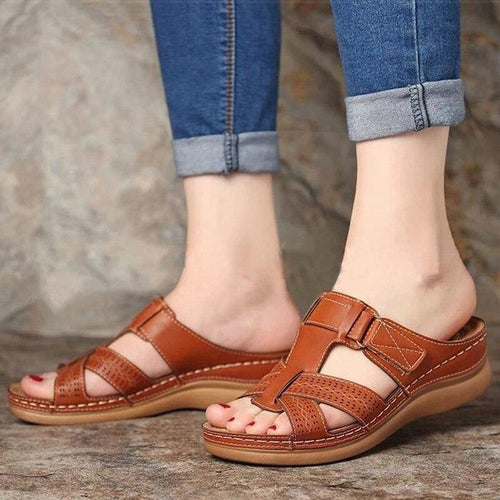 Soft Bottom Women Sandals Wedge Shoes Summer 2021 fashion  Medium Heels Female Sandalias Mujer