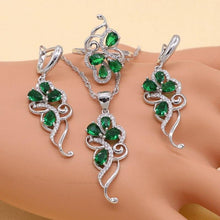 Load image into Gallery viewer, 925 Sterling Silver Emerald Green Cubic Zirconia Jewelry Sets Women Earrings/Necklace/Ring/Bracelet 4pcs/sets - www.eufashionbags.com