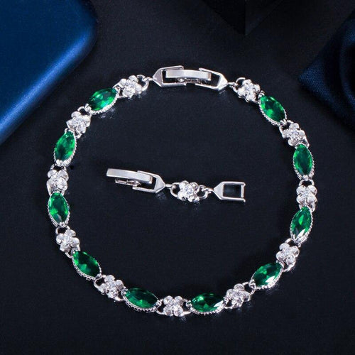 Marquise Cut Cubic Zircon Chain & Link Bracelets Women CZ Tennis Bracelet for Brides Jewelry Gift - www.eufashionbags.com