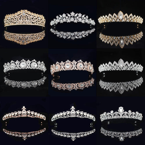 Rhinestone Bridal Tiara Crown Princess Bride Crystal Diadem Women Prom Hair Ornaments Wedding Bridal Head Jewelry Accessories - www.eufashionbags.com
