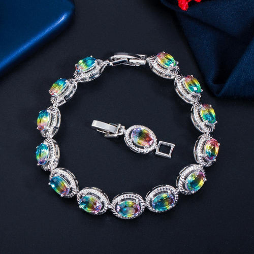 Blue Rainbow CZ Crystal Round Charm Bracelet for Women Party Engagement Jewelry Accessories - www.eufashionbags.com