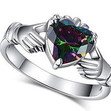 Load image into Gallery viewer, Fashion Heart Claddagh Ring with Rainbow CZ Prong Setting Silver Plated Jewelry Lover Gift Rings for Women - www.eufashionbags.com
